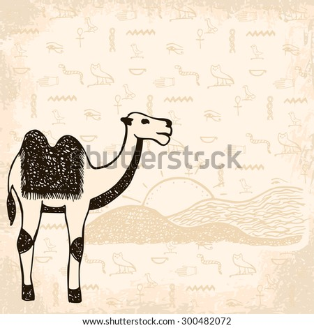 Egyptian camel  on hand drawn background with ancient symbols and dunes - stock vector