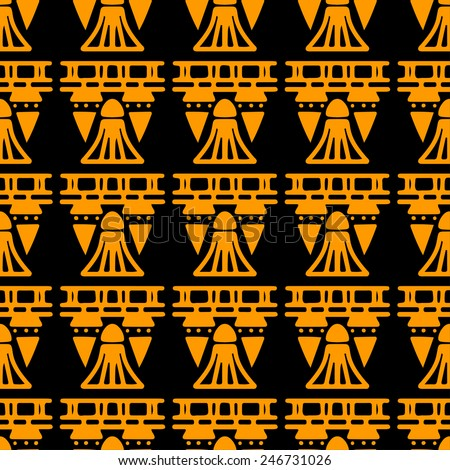 Egyptian seamless pattern in black and gold. Egypt hieroglyphs. Tribal art repeating background texture. Cloth design. Wallpaper  - stock vector