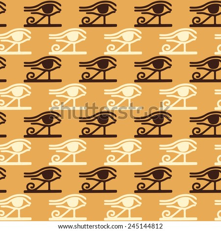 Egyptian seamless pattern with Eye of Horus. Egypt hieroglyphs. Tribal art repeating background texture. Cloth design. Wallpaper  - stock vector