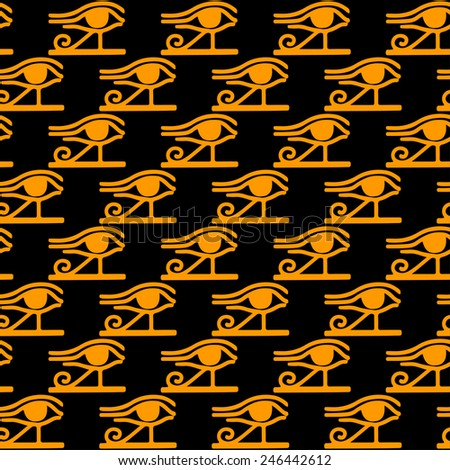 Egyptian seamless pattern with Eye of Horus in black and gold. Egypt hieroglyphs. Tribal art repeating background texture. Cloth design. Wallpaper  - stock vector