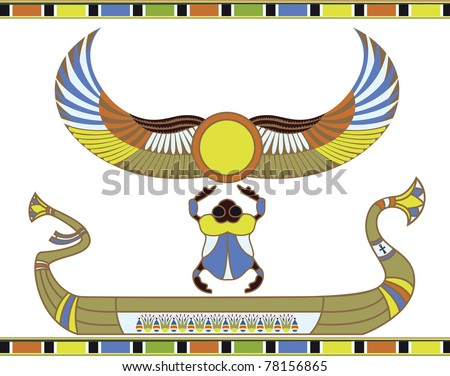Egyptian sun boat - stock vector