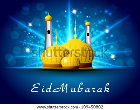 Eid Mubarak background with golden Mosque and Masjid. EPS 10. - stock vector