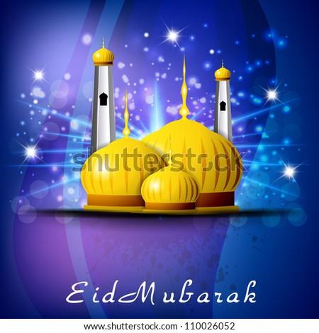 Eid Mubarak background with golden  Mosque or Masjid. EPS 10. - stock vector