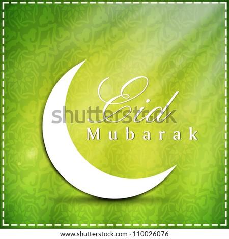 Eid  Mubarak background with moon. EPS 10. - stock vector