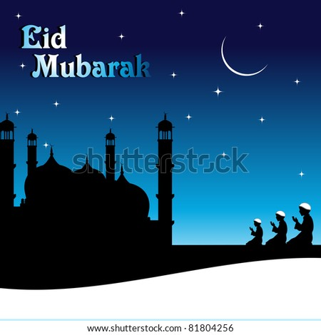 eid mubarak background with people praying infont of mosque - stock vector