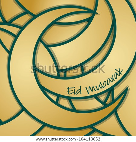 Eid Mubarak (Blessed Eid) sticker greeting card in vector format. - stock vector