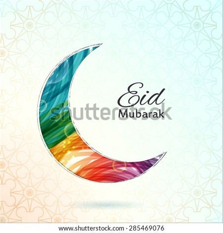 Eid Mubarak card. Ramadan greetings background. A colorful moon. Vector illustration - stock vector