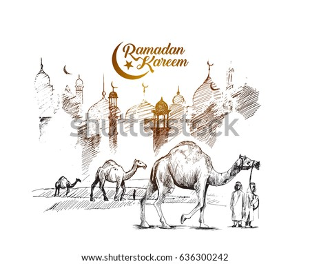 Eid Mubarak greeting card template, Hand Drawn Sketch Vector illustration.