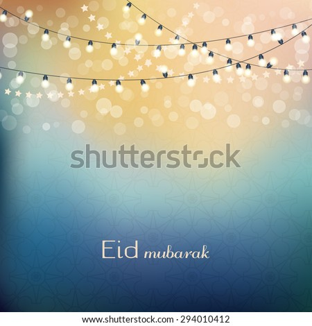 Eid mubarak greetings background. Blue night background with shiny lights. Vector illlustration - stock vector