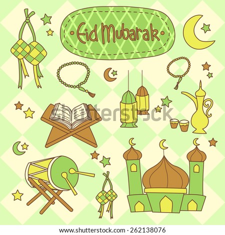Eid Mubarak Islamic set vector in doodle style with yellow and green diamond seamless pattern background - stock vector