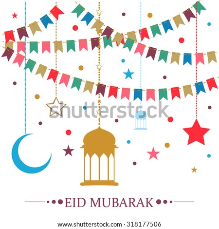 Eid Mubarak - traditional Muslim greeting. Arabic lamps, star and moon on white background - stock vector