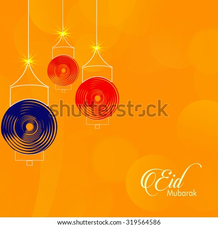 Eid Mubarak - traditional Muslim greeting. Festive hanging arabic lamps.  - stock vector