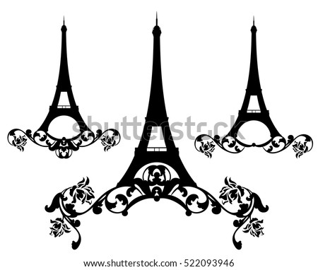 eiffel tower among rose flowers black and white vector silhouette design set