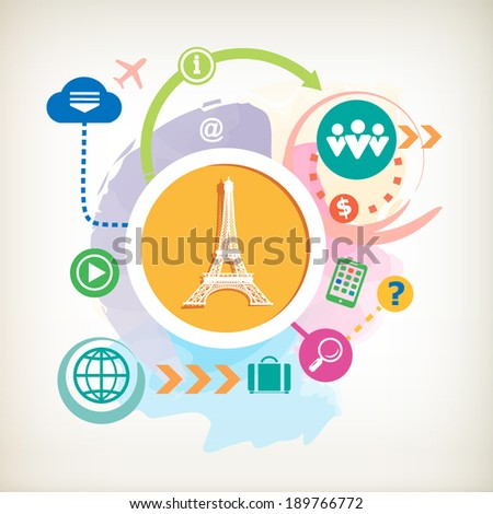 Eiffel tower and cloud on abstract colorful watercolor background with different icon and elements.  - stock vector