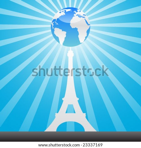 eiffel tower and world globe - stock vector