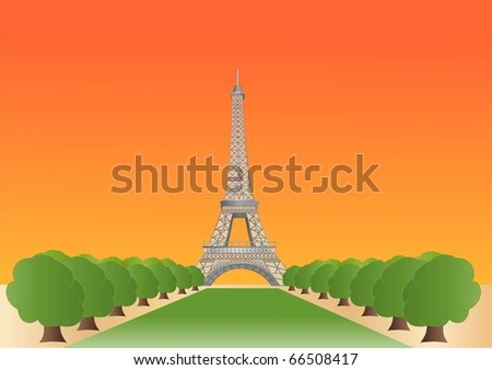 Eiffel tower at sundown ( background on separate layer ) - stock vector
