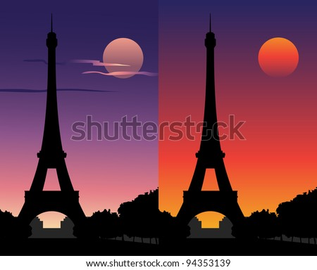 Eiffel Tower at sunset, under a full moon