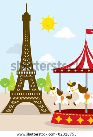 eiffel tower day vector/ illustration - stock vector