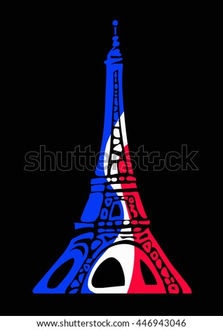 Eiffel Tower in colors of flag of France in decorative style isolated on a black background. Design lement for T-shirt prints or logo. Hand drawn vector illustration. - stock vector