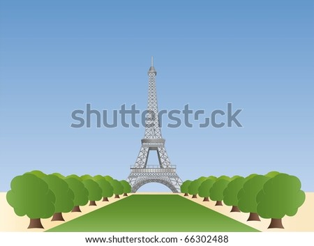 eiffel tower in paris ( background on separate layer ) - stock vector