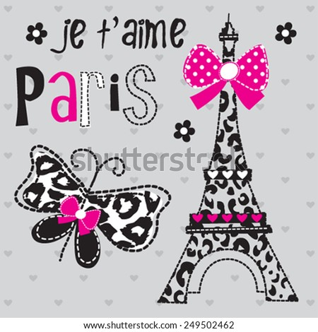 Eiffel Tower in Paris, butterfly, polka dot background vector illustration - stock vector