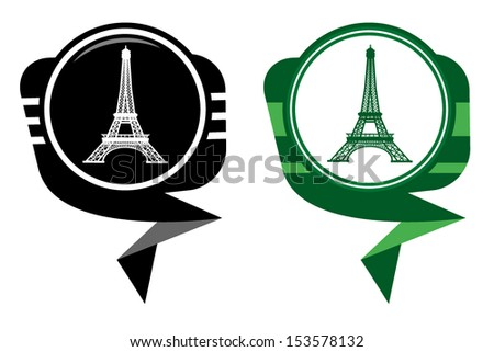 Eiffel Tower in Paris, France - black and green pointer - stock vector