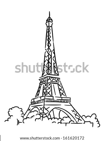 Eiffel tower in Paris, France. Sketch vector illustration. Jpeg version also available in gallery - stock vector