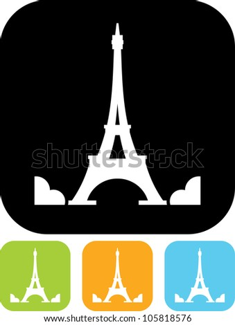 Eiffel Tower in Paris, France - Vector icon isolated - stock vector