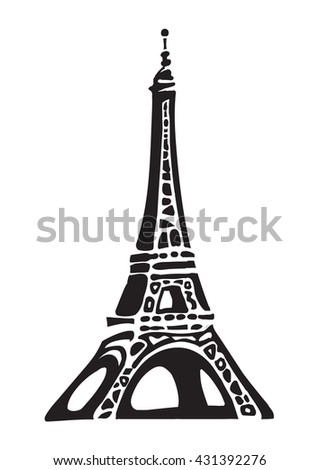 Eiffel Tower in Paris in decorative style Hand drawn vector illustration Famous french landmark silhouette isolated on a white background  famous french landmark silhouette on a white background - stock vector