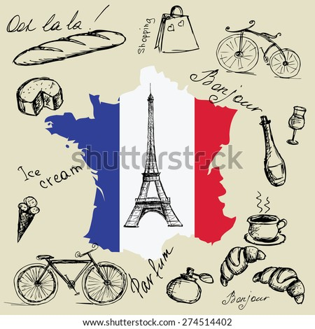 Eiffel tower, map and flag of France and the main symbols of the country. - stock vector