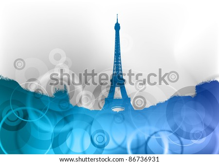 eiffel tower on the blue abstract background - stock vector