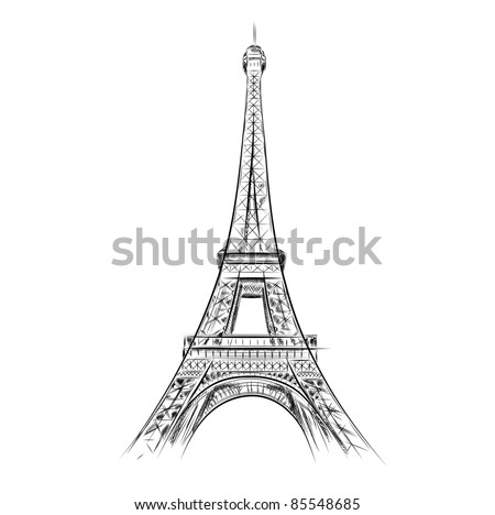 eiffel tower on the white - stock vector