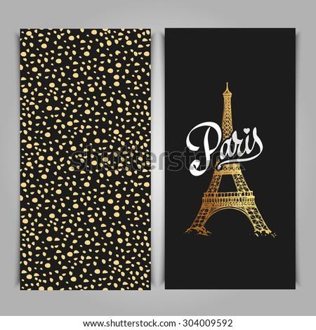 Eiffel tower parisian symbol. Hand drawn vector greeting art deco styled card - stock vector