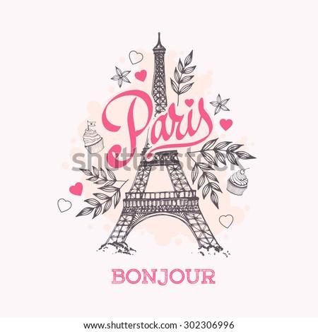 Eiffel tower parisian symbol. Hand drawn vector greeting card. - stock vector