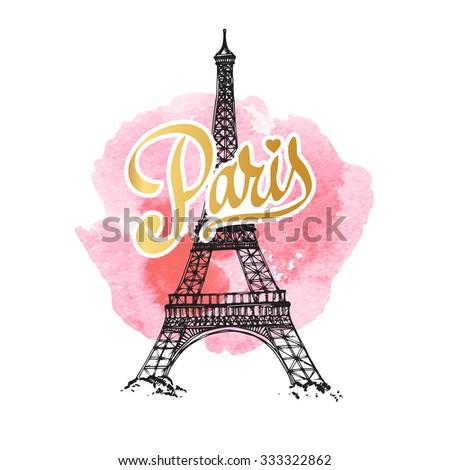 Eiffel tower parisian symbol. Hand drawn vector greeting card - stock vector