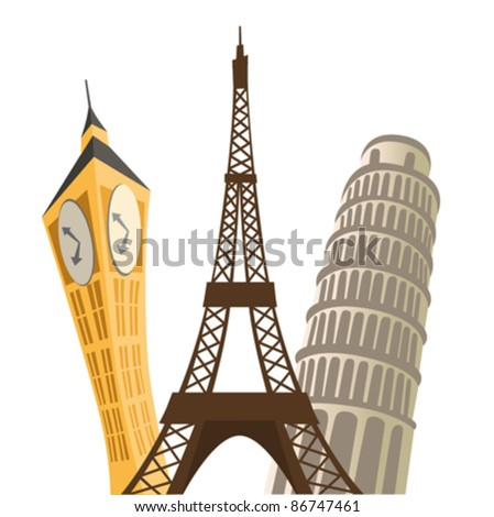 eiffel tower, pisa tower and big ban. - stock vector