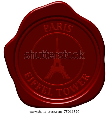 Eiffel tower. Sealing wax stamp for design use. - stock vector