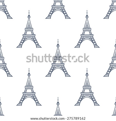 Eiffel tower seamless pattern. Romantic Paris vector backdrop. - stock vector