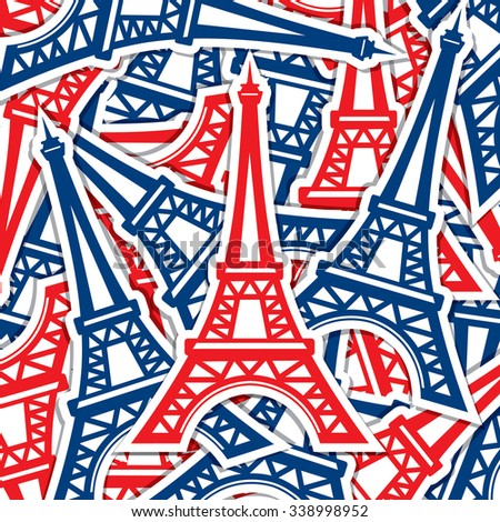 Eiffel Tower sticker card in vector format - stock vector