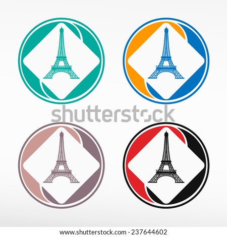 Eiffel tower vector illustration - round color set. Web icon element. - stock vector