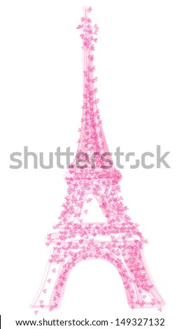 eiffel tower with herats, isolated on white background, vector illustration