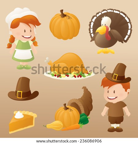 Eight autumn and thanksgiving icons.