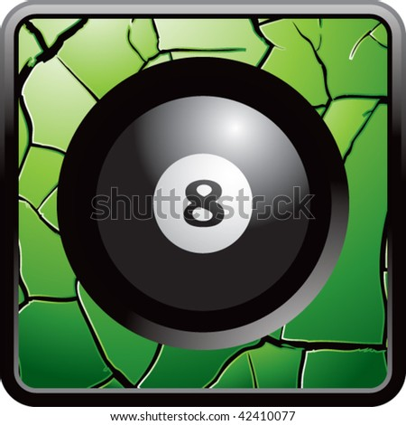 eight ball green cracked web button