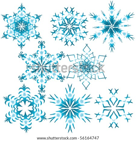 Eight blue snowflakes. Vector illustration - stock vector
