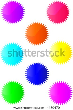 eight bright coloured vector buttons - stock vector