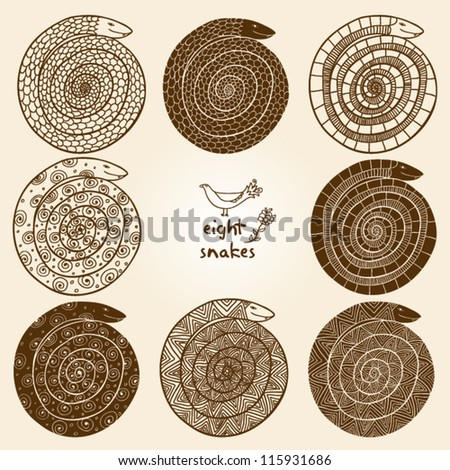 eight brown snakes - stock vector