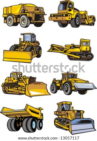 Eight building cars. Construction machinery. Vector illustration - color + b/w versions. - stock vector