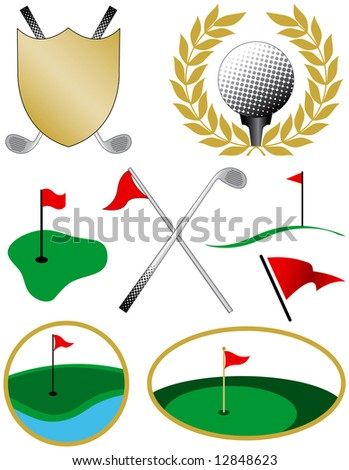 Eight Color Golf Icons including a golf ball, shield, clubs and flags - stock vector