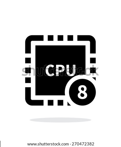 Eight Core CPU simple icon on white background. Vector illustration. - stock vector