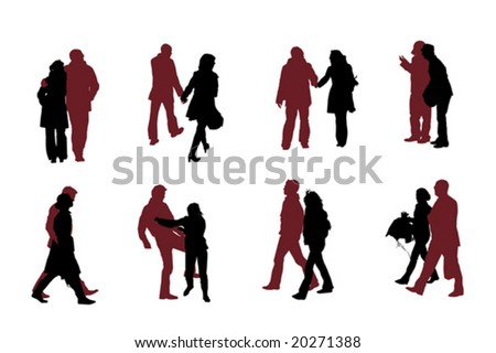 eight couple  silhouettes vector collection